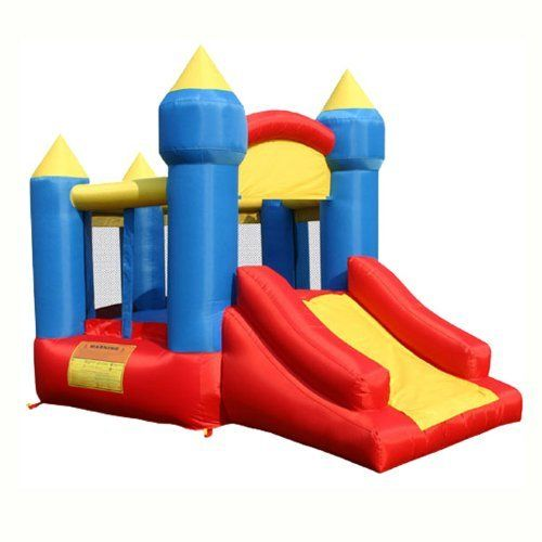 Kidwise LITTLE KINGS CASTLE WITH SLIDE by KidWise Outdoor Products, Inc.. $259.00. This Inflatable Jumper has a pentagon shape and is constructed for seasons of fun. The slide is almost 5 feet long! Simply unfold and hook up to the included air blower. In minutes you are ready to play. Maximum capacity of 3 children in the Bouncer at 100lbs. each, total 300 lbs. Included air blower plugs into any standard 120V outlet and makes for fast inflation. Recommend only 1-...