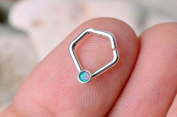 SEPTUM RING / Nose Ring / EAR / Cartilage 16 gauge Sterling Silver with 2 mm synthetic Opal. , Handcrafted