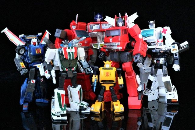 Transformers Masterpiece MP-25 Tracks, MP-20 Wheeljack, MP-27 Ironhide, MP-10 Convoy (Optimus Prime), MP-21 Bumble (Bumblebee), MP-33 Inferno, MP-30 Ratchet and MP-17 Prowl