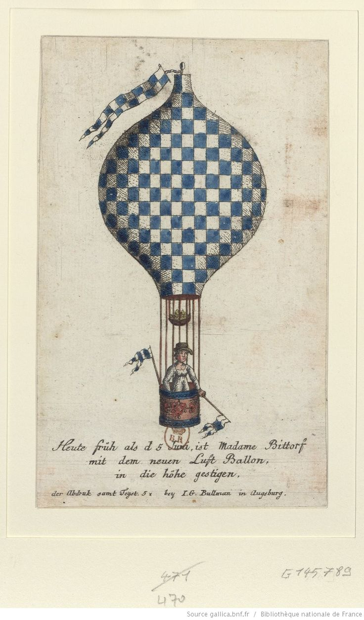 Madame Constanze Bittorf flying in her hot-air balloon. By Fegst and I.G. Bullman, Augsburg 1811