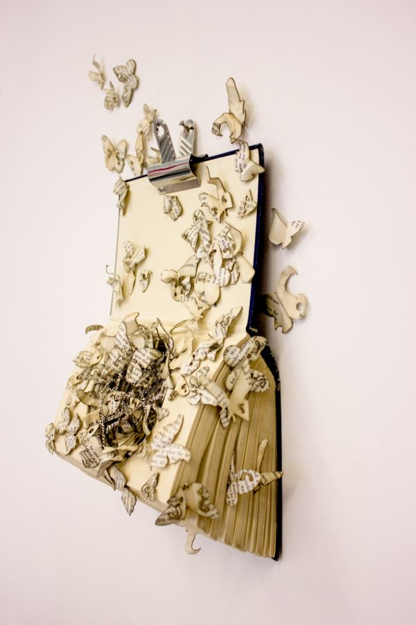 Book Sculpture: Plagued by Doubt by Thomas Wightman
