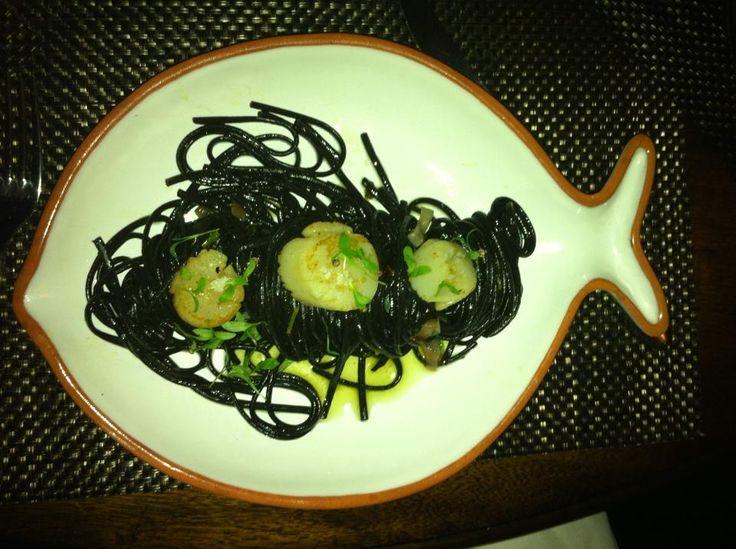 Black Squiding Ink Pasta with scallops @MiaPia
