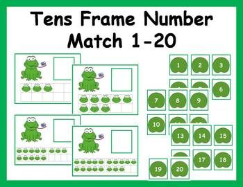 Here is a fun hands-on frog themed math center to help students practice counting, identifying numbers, matching numbers and quantities and using tens frames.  Your students will love this frog themed math center activity!In this activity students have to select a card and count the fly frogs.