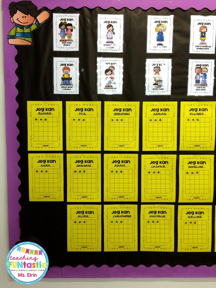 """PY 1 - Uke 34; 1. klasse har fått opp """"stjernekartene"""" sine, og er godt i gang med å jobbe med """"Jeg kan!"""" opplegget vårt for gode klasserutiner og ordensregler :) Stjernekartene blir sendt hjem når de er fylt opp, og elevene mottar nytt stjernekart med ny farge!"""