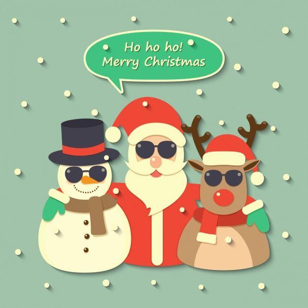 Papai Noel, uma rena e um boneco de neve usando óculos escuros Vetor grátis