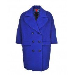 Femme by Michele Rossi Pea Coat in Cobalt Blue