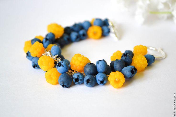 """Купить Браслет """"Ягодки"""" - желтый, морошка, черника, синий, голубой, браслет, ягоды, Ягодки, ягодный"""