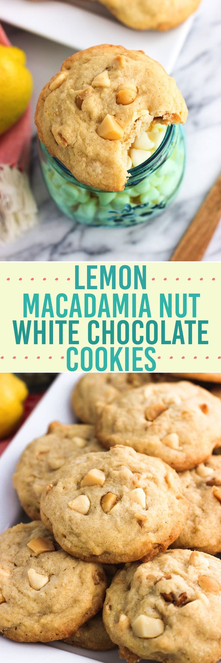 These lemon macadamia nut cookies are ultra chewy with a perfect hint of citrus, toasted macadamia nuts, and white chocolate chips. Love citrus cookies like these!