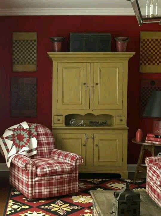 I Love The Color Of The Hutch Against The Red Wall Things I Love Pinterest Cozy Room