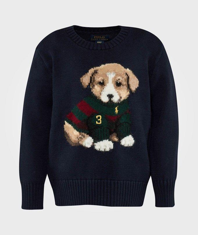 RALPH LAUREN LS CN DOG SWEATER HUNTER NAVY fra Babystore. Om denne nettbutikken: http://nettbutikknytt.no/babystore-no/