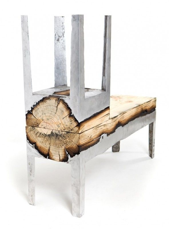 Cast Concrete and Wood Furniture. sexy.
