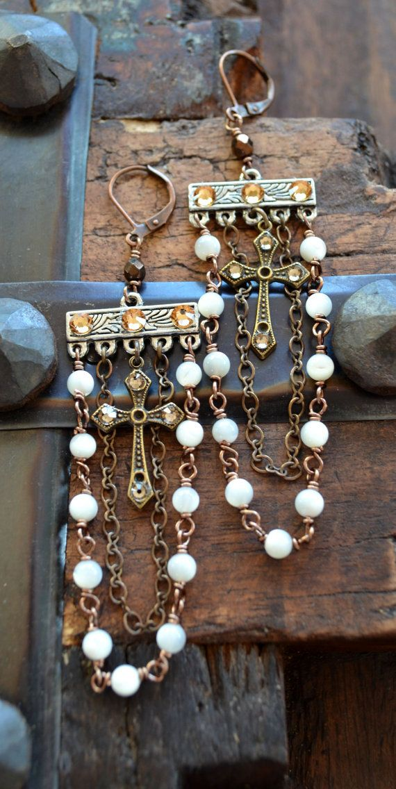 Crystal cross and mother of pearl vintage look by Purrrls on Etsy, $32.00