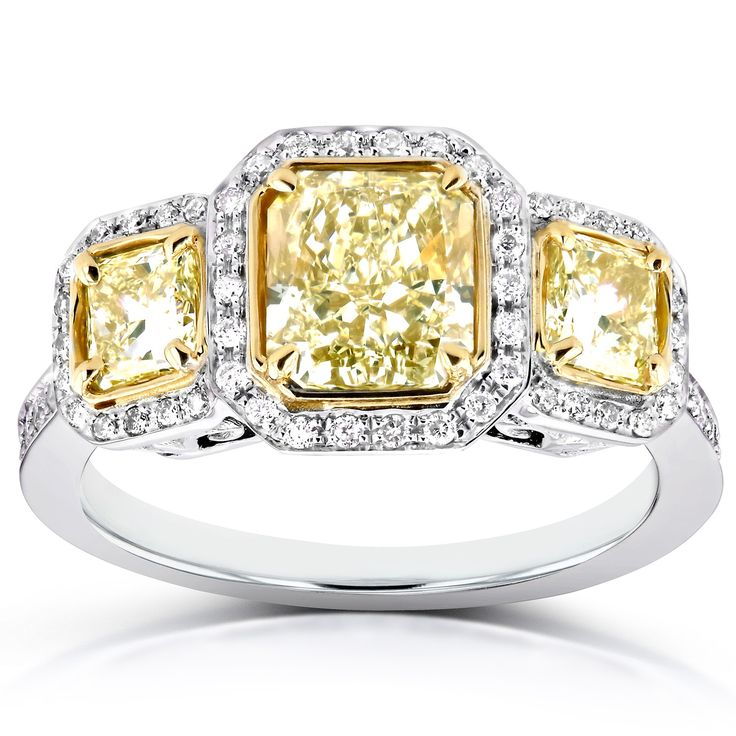 Fancy Yellow Diamond Three-Stone Halo Radiant Engagement Ring 2 2/5 CTW in 14k Two-Tone Gold (Certified) *note: links to external affiliate site for Kobelli Fine Jewelry. #mothersday #sale #sales #fancy #luxury #yellowdiamond #yellow #diamond #14k #gold #twotone #twotonegold #engagementrings #rings #marriage #wedding #jewelry #finejewelry #jewelers #jewels