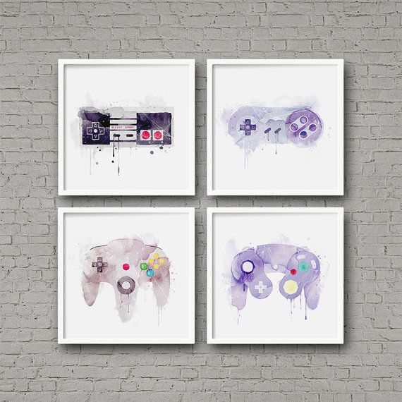 Nintendo Controllers Watercolor Art Print Set Video Game Art Series NES SNES N64…