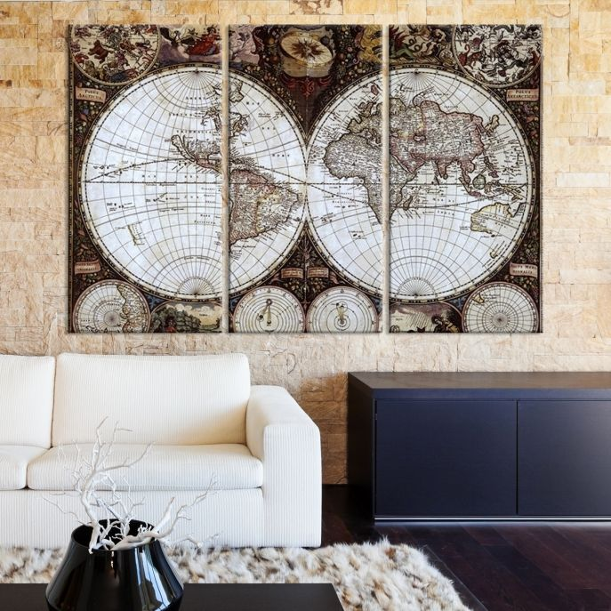 Best World Map Canvas Images On Pinterest Canvas Prints - Us map canvas wall art