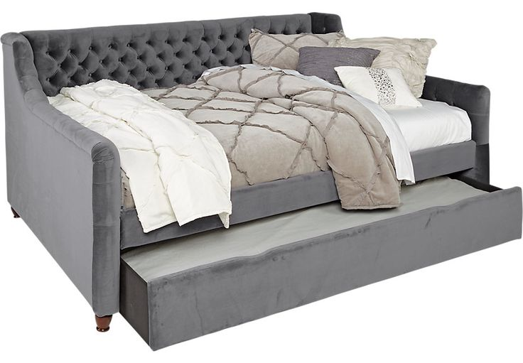 Alena Charcoal 2 Pc Full Daybed w Trundle .699.99. 81.5L x 61W x 39.5H. Find affordable Beds for your home that will complement the rest of your furniture. #iSofa #roomstogo