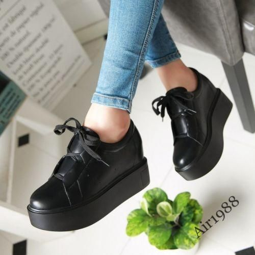 College-Women-Creepers-Wedge-Heels-Platform-Lace-Up-Sneakers-Casual-Flats-Black