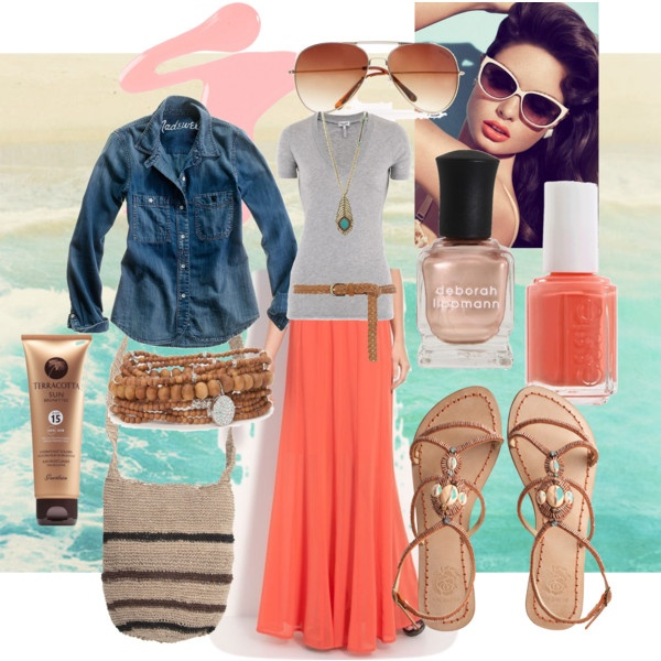 orange maxi skirt, created by amie-steny on Polyvore