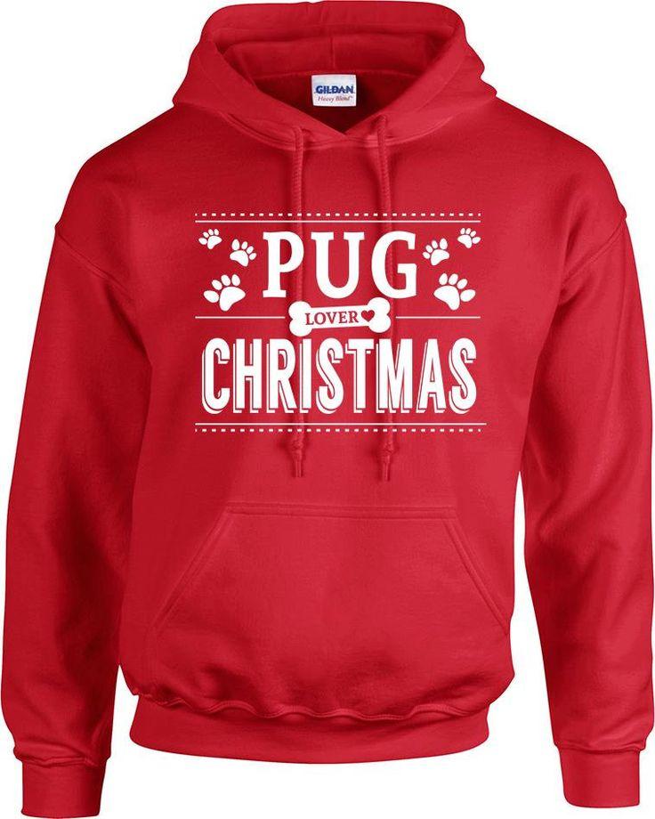 pug lover loves Christmas hoodies hooded sweatshirt, pug dog lover, christmas gift, pet lover, gift for nurse, gift for grandma grandpa by RingAndDonut on Etsy