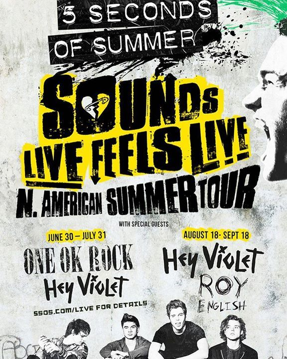 New instagram pic - EXCITED to announce weve got the ONE OK ROCK lads and our mates Hey Violet & Roy English on the road with us for the North American Sounds Live Feels Live tour dates! http://ift.tt/1qHWC6J by 5sos