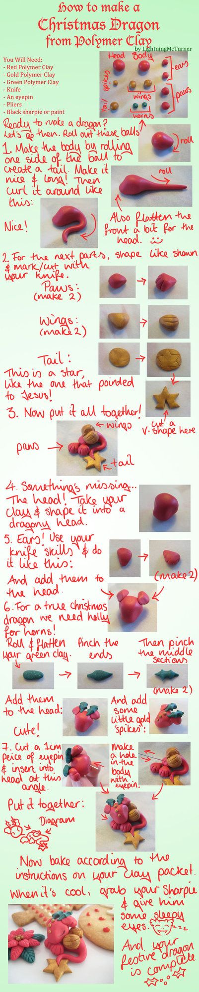 Christmas Dragon Polymer Clay Tutorial by ~LightningMcTurner on deviantART