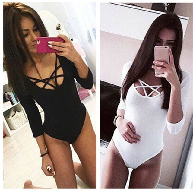 Amazing Deal $5.00, Buy Takerlama Hot Sexy Women 3/4 Sleeve Bodysuit Bodycon Lady Leotard Body Tops Jumpsuit T-shirt Clubwear V Neck Hollow out Bodysuit
