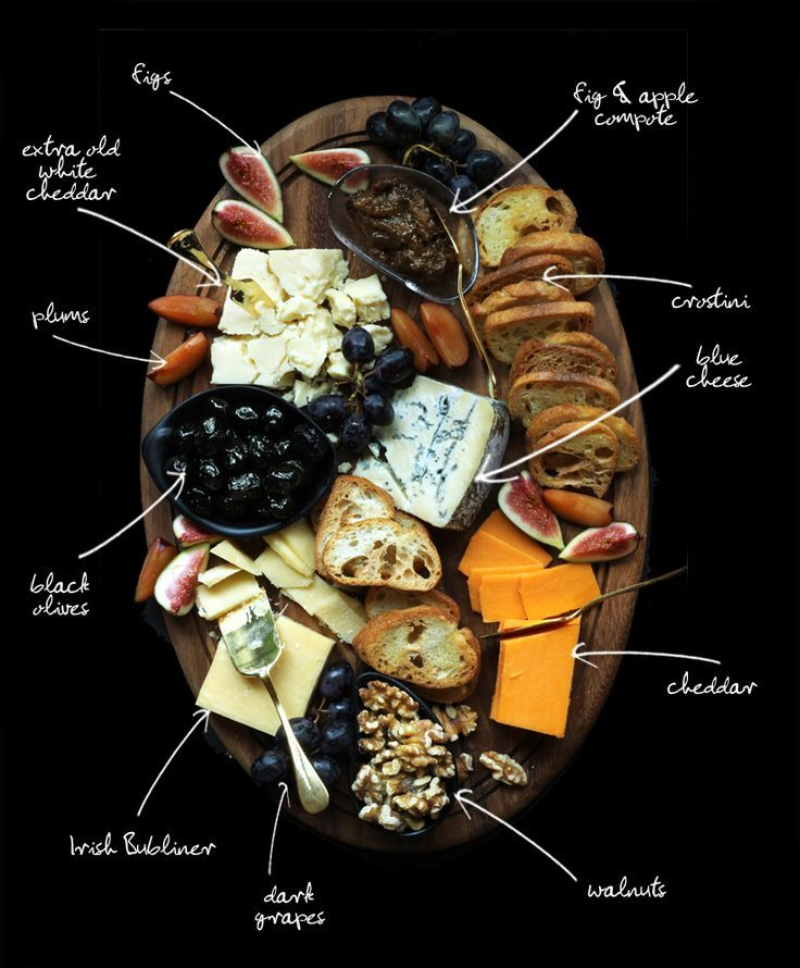 Holiday Cheese Platter (figs, apple compote, white cheddar, plums, crostini, blue cheese, olives, cheddar, walnuts, dark grapes, irish dubliner)