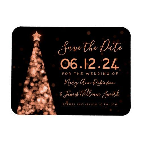 rose gold christmas tree wedding save the date magnet in 2018