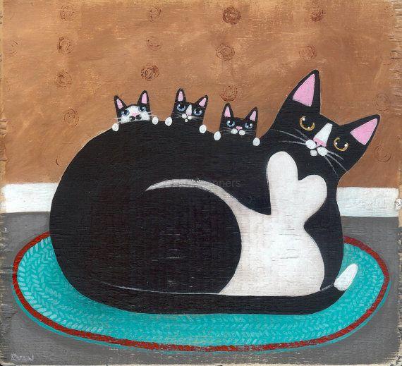 Tuxedo Mother and Kittens Original Cat Folk Art ~ Ryan Conners