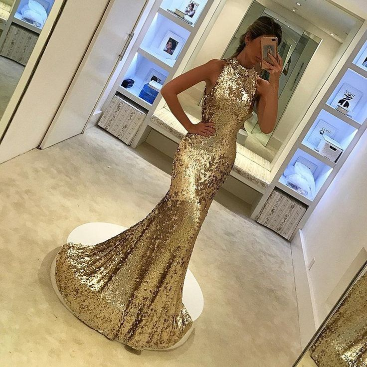Gold Sequins Mermaid Dress,Mermaid Evening Gowns,Mermaid Prom Dress,Glitter Bridesmaid Dress,Halter Evening Dress
