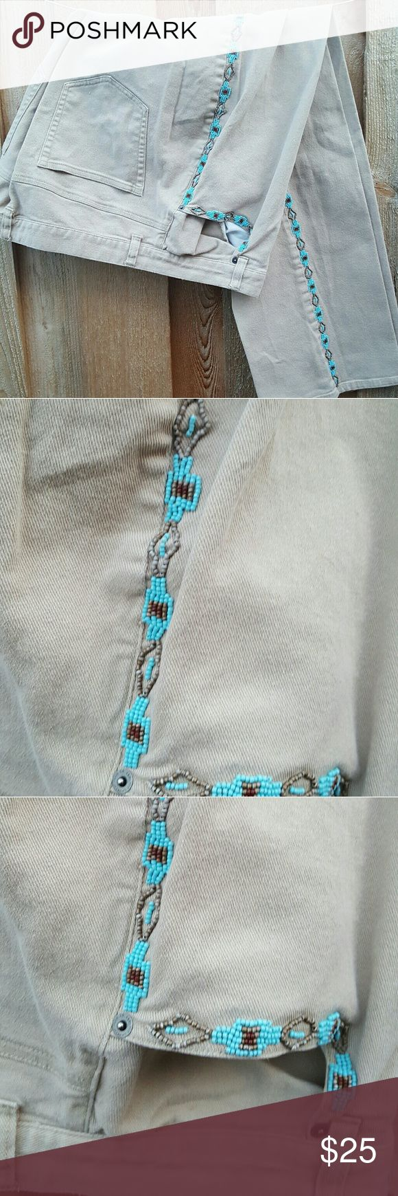 """Ralph  Lauren  beaded cream  jeans size 16W GC Ralph Lauren turquoise  beaded jeans dress  with turquoise jewelry for southwest flair or turquoise sweater or blouse for a casual style inseam 30"""" waist 18.5"""" bottom leg width 10"""" Ralph Lauren Jeans Boot Cut"""