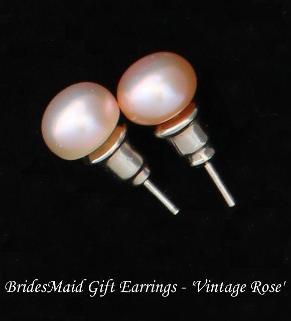 Beautiful Bridesmaid Gift Earrings in Vintage Rose