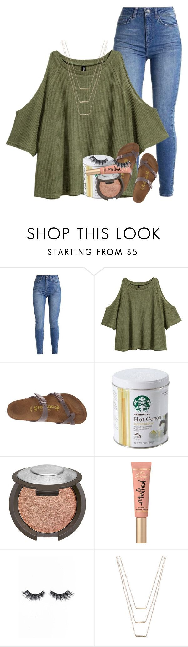 """i wish i was beside you"" by emilyandella ❤ liked on Polyvore featuring Birkenstock, Becca, Too Faced Cosmetics, Violet Voss and ERTH"