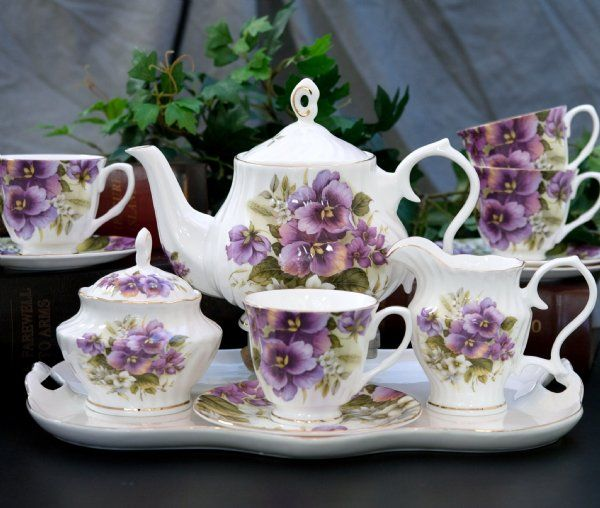Pansy Bone China Tea Service for 4 CUPS/SAUCERS OUT OF STOCK UNTIL 8/30