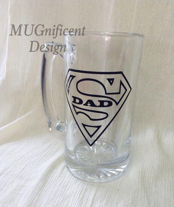 Super DAD Beer Mug by MUGnificentDesigns on Etsy