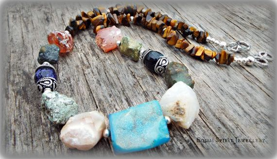 Raw rocks Druzy necklace by EquusSpiritJewellery on Etsy