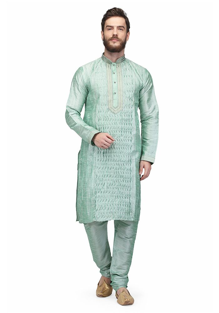 Green Colored Raw Silk Mens Kurta Pajama By Pret A Porter