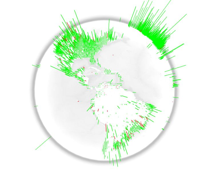 webgl globe is an open platform for geographic data visualization webgl globe displays a json file and visualizes the magnitude related with the location