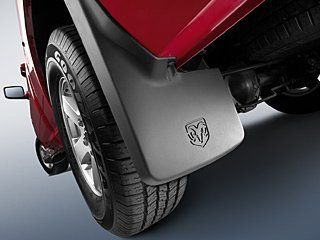 2013-2017 Dodge Ram Truck Mopar Molded Splash Guards Mud Flaps - Front & Rear - Set of 4. For product info go to:  https://www.caraccessoriesonlinemarket.com/2013-2017-dodge-ram-truck-mopar-molded-splash-guards-mud-flaps-front-rear-set-of-4/