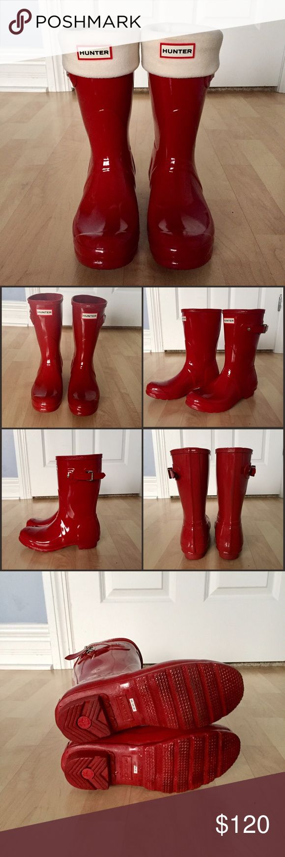 Hunter Original Short Gloss Rain Boots Like new, only worn once. Shiny, red, short Hunter rain boots with silver buckle. These have only been worn once, there are no flaws. *Hunter socks not included, just for display* Comment with any questions! ☔️ Hunter Boots Shoes Winter & Rain Boots