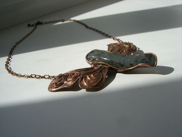 necklace - dragonfly, gemstone, cooper, tin, 2011, Seemoon