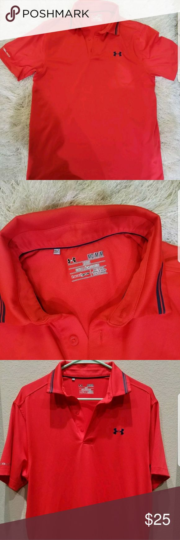 Under Armour Men's Heat Gear Loose Red Polo Shirt Under Armour Men's Heat Gear Loose Red Polo Shirt M Medium Coldblack   Condition - Preowned in excellent condition  Size Medium  Color Red   Loose fit style, heat gear eith cold black labeled on right arm.   All items are packaged with care.   Be sure to check out my other Under Armour listings! Under Armour Shirts Polos