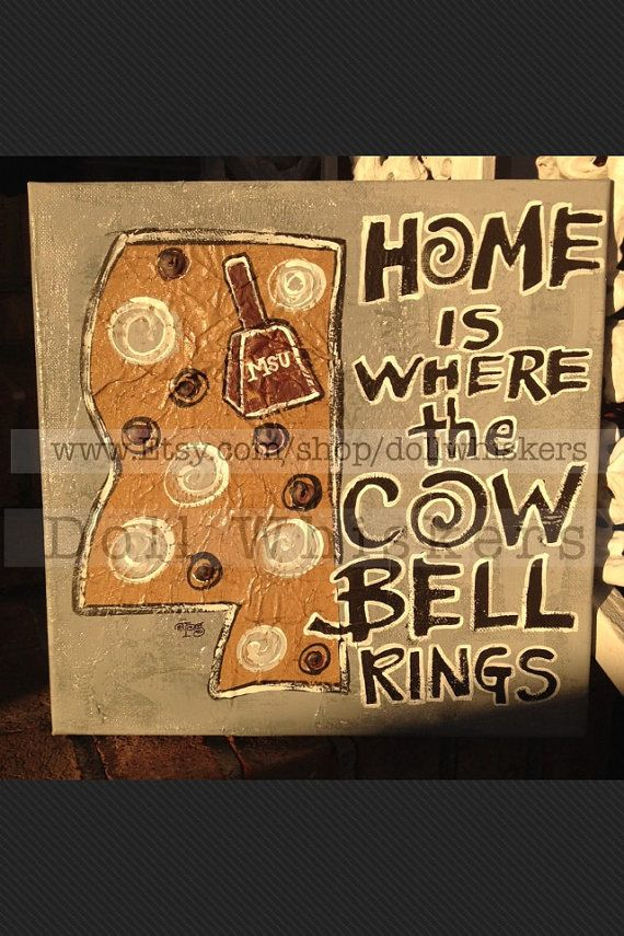 Home Is Where The Cowbell Rings canvas by DollWhiskers on Etsy
