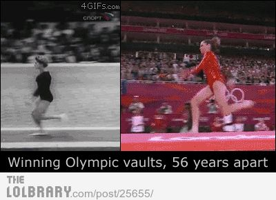 winning Olympic vaults, 56 years apart