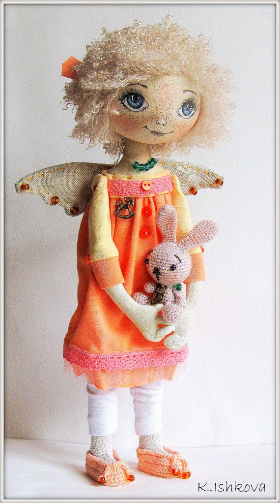Textile Art Cloth doll Kerry bunny orange by ArtDollsByKseniya, $102.00