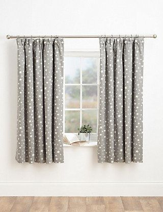Grey Mix Star Print Pencil Pleat Curtains Home