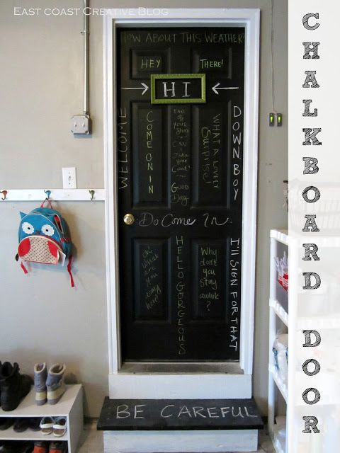 Add some fun and personality to your garage door by painting it with chalkboard paint!Garages Doors, Back Doors, Chalkboards Painting, Garage Doors, Painting Doors, Chalkboard Paint, Garages Entry, Chalkboards Doors, Interiors Garages