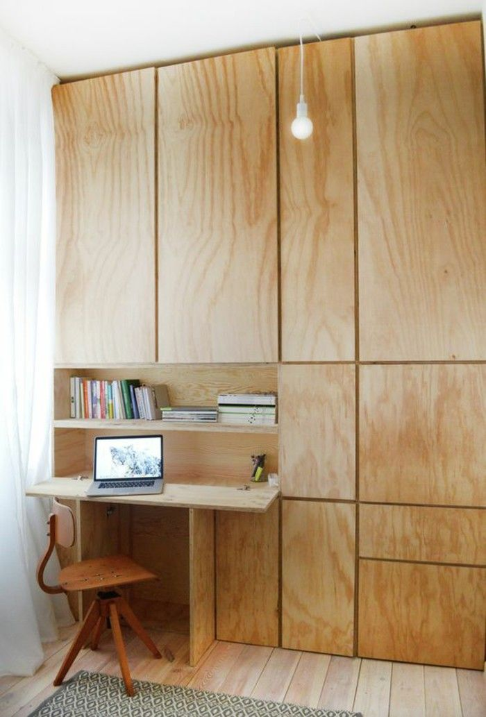 Fold-out desk in the closet clever interior design ideas