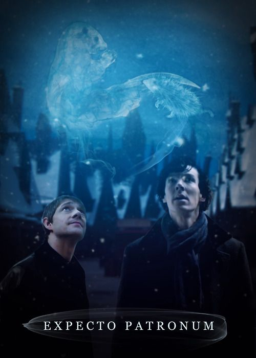"""Potterlock.    With a final hiss, the Dementor turned into fog and dissipated into the night, destroyed.    """"Well done, John,"""" Sherlock said proudly, straightening up as his Patronus swam over to circle lazily above their heads. """"I see you picked a very powerful memory as well.""""    John grinned as his own Patronus waddled over to nudge at his cheek. """"It wasn't that difficult to come up with a good one,"""" he admitted. """"I thought of the first time we kissed…""""    """"As did I,"""" Sherlock murmured."""