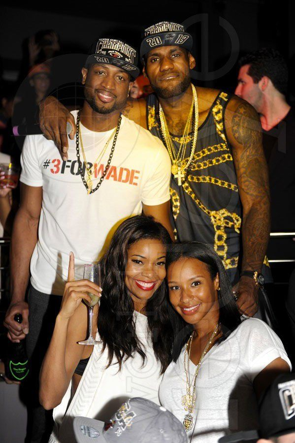 Gabrielle Union Dwayne Wade & Lebron James and Wife Savannah